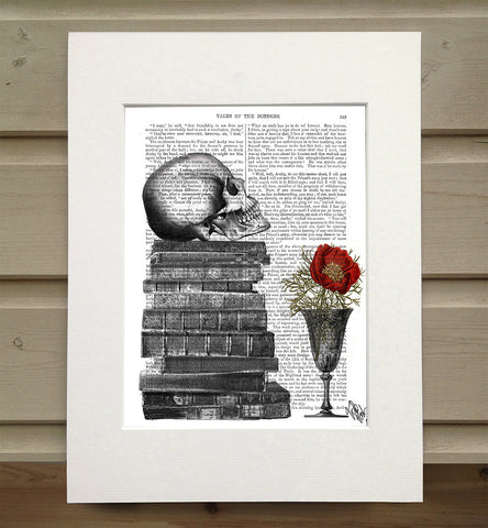 Signed 1800's Antique Book Paper Print  - Skull And Books