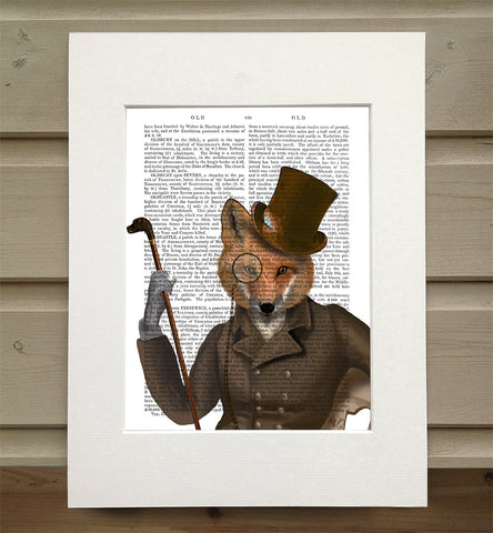 Mounted Antique Book Paper Print - Fox