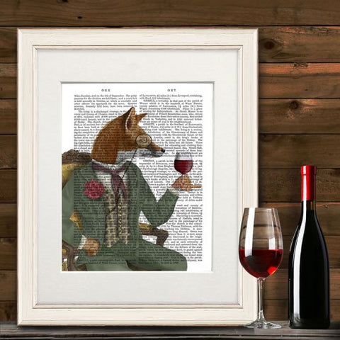 Signed 1800's Antique Book Paper Print  - Wine taster Fox