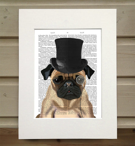 Mounted Antique Book Paper Print - Pug
