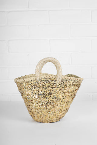 Small Gold Sequin Basket - 2 sizes Available