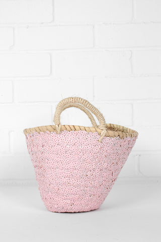 Pale Pink Sequin Basket - 2 Sizes Available