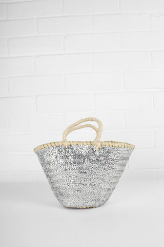 Small Silver Sequin Basket - 2 Sizes Available