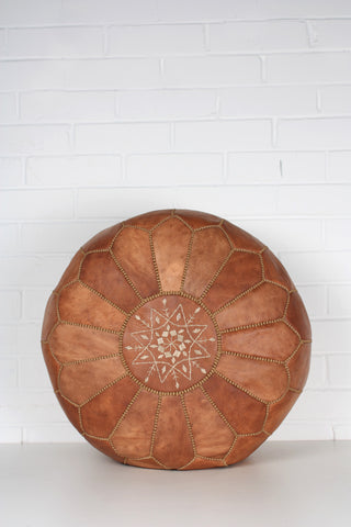 Leather Moroccan Pouffe - Tan