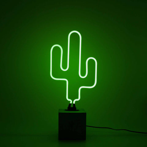 Cactus Neon Light With Concrete Base