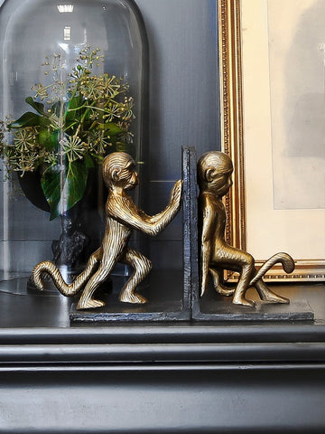 Set Of Monkey Bookends - 1 left