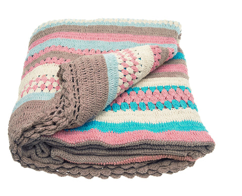 Pastel Crochet Knitted Throw -200cm
