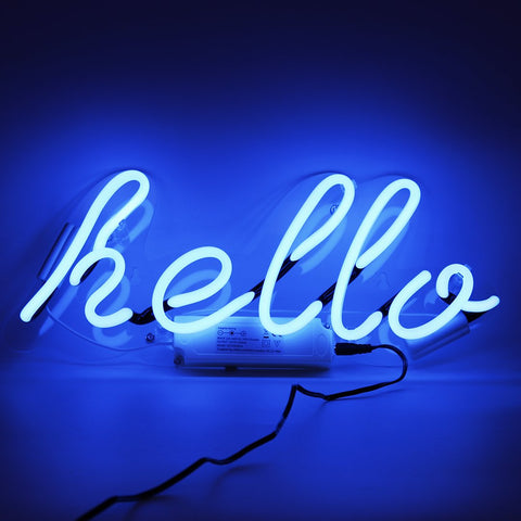 Blue Hello Neon Wall Light