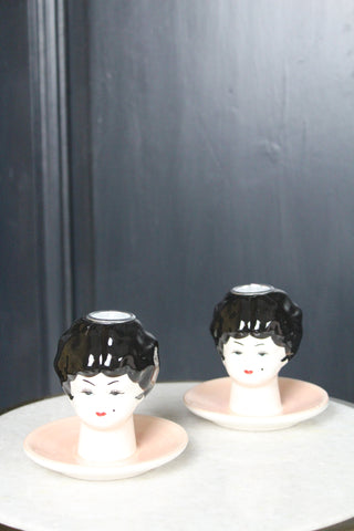 Boudoir Doll Head CandleSticks - Set Of 2