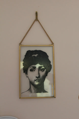 Glass Boho Lady Glass Plaque