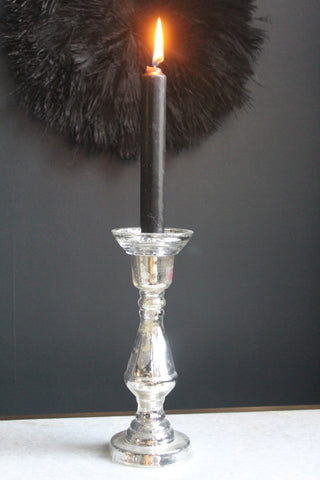 Silver Glass CandleStick -2 Sizes Available