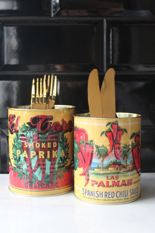 Retro Chilli Metal Storage Tins - Set Of 2