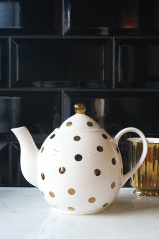 Gold Spotty White Teapot -sample
