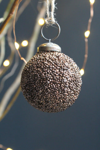 Bronze Beaded Glass Christmas Bauble - 5cm