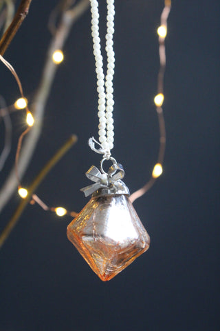 Blush Pink Glass Diamond Christmas Bauble
