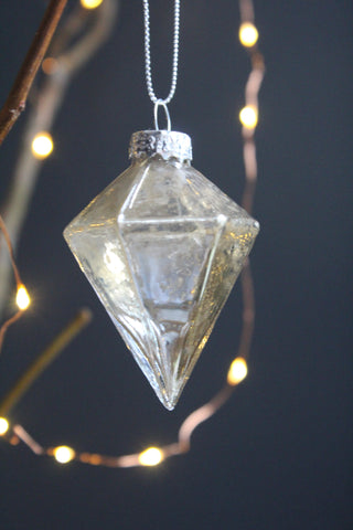 Antique Silver Diamond Glass Bauble