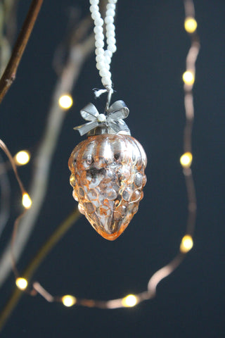 Blush Pink Glass Grape Christmas Bauble