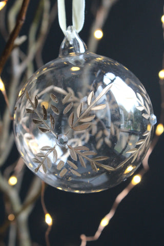Gold Itched Christmas Bauble