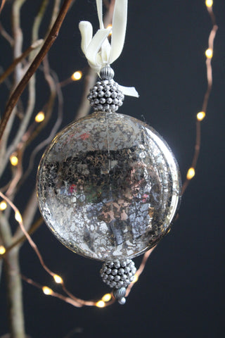 Antique Silver Dome Glass Christmas Bauble