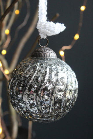Antique Silver Dotted Glass Christmas Bauble - 8cm