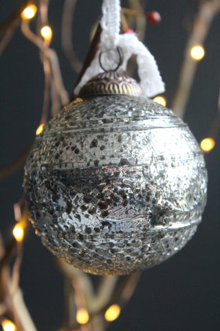 Antique Silver Glass Christmas Bauble - 8cm