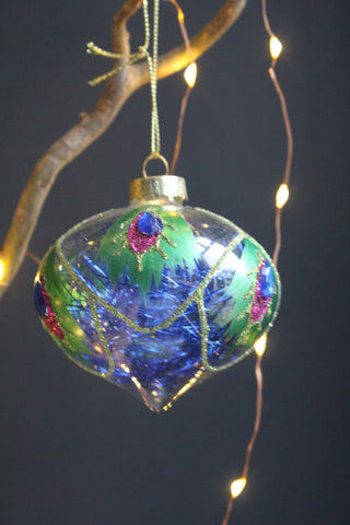 Peacock Feather Christmas Glass Bauble - 2 shapes available