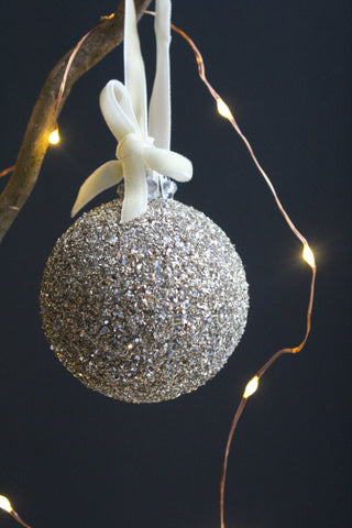 Glitter  Glass Christmas Bauble -6cm