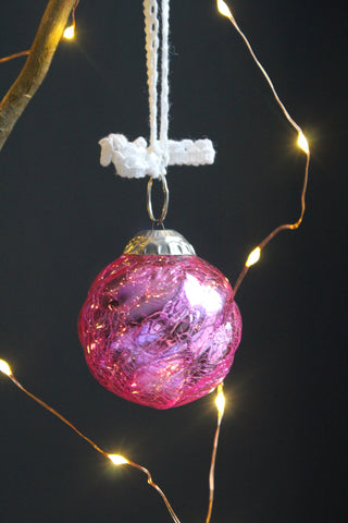 Crackled Glass Small Christmas Bauble -5cm