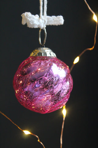 Pink Crackled Glass Large Christmas Bauble -7.5cm