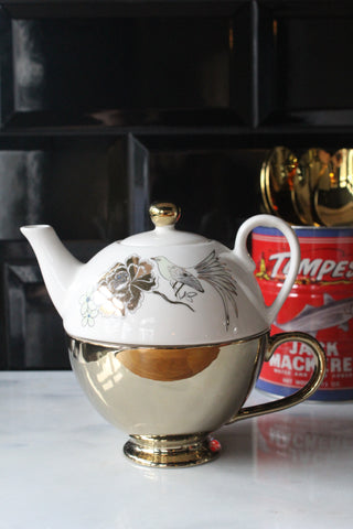 Tea For One Gold Teapot And Teacup