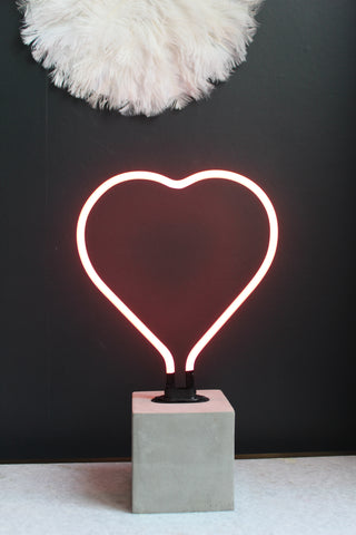 Heart Neon Light With Concrete Base