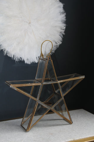 Standing star brass glass tea-light holder