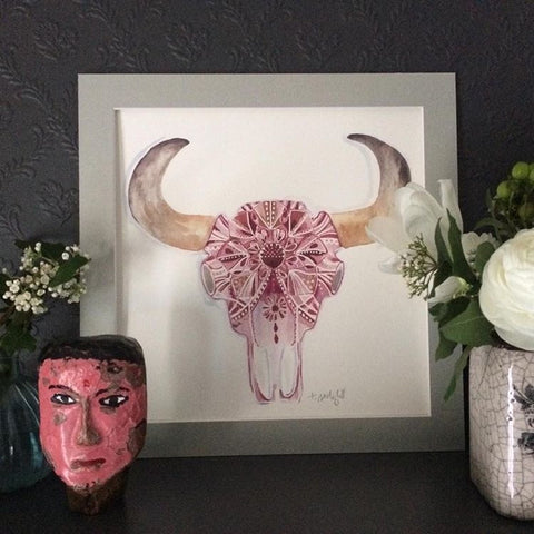 Limited edition Tipperley Hill pink animal skull print