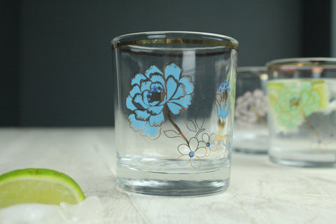Flower Gold Edged Glass - 3 Colours Available