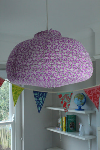 Rice Dk Floral Purple Ceiling Lamp Shade