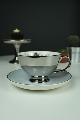 Vintage Style Flower Silver Tea Cup/Coffee Cup and Saucer