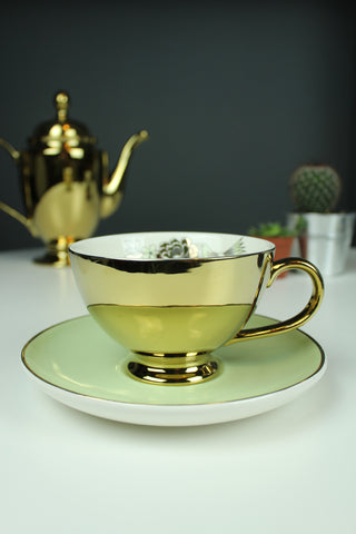 Vintage Style Flower Gold Tea Cup and Saucer