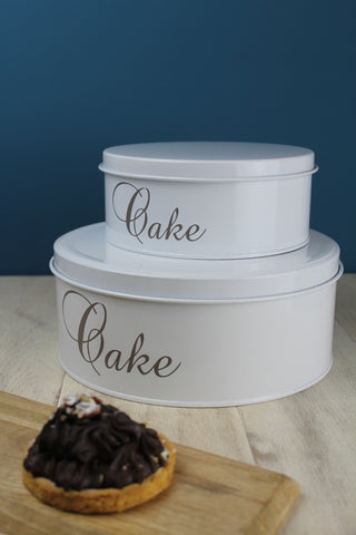 Set of 2 Enamel Cake/Biscuit Tins