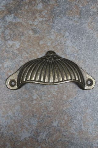 Antique Brass Ridged Metal Drawer Handle