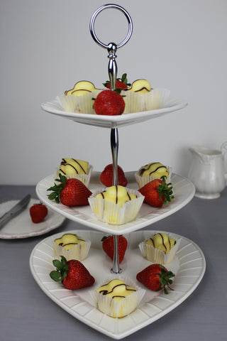 Ceramic 3 Tier Heart Cake Stand