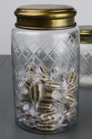 Etched Glass Large Jar With Antique Brass Lid