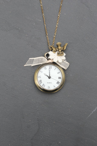 Ella Bird Charm Watch Long Necklace