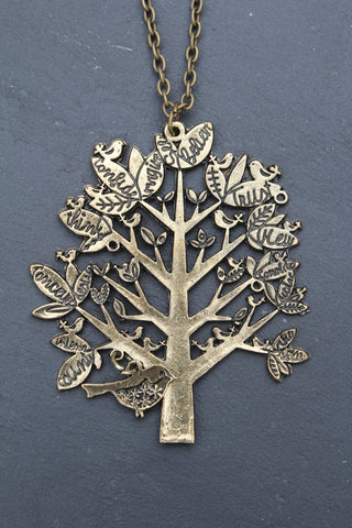Tree Pendant Long Necklace