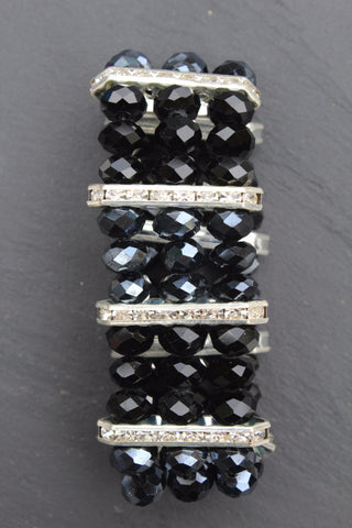 Glass Bead And Crystal Bar Stretch Bracelet
