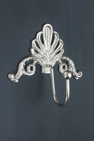 Metal Scalloped Hook - Antique Silver
