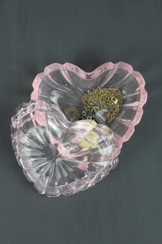Pink Glass Heart Trinket Box