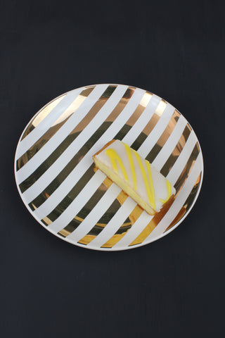 Striped Gold Cake Plate