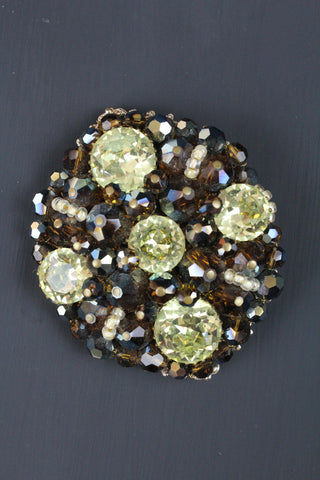 Vintage Glass Stone And Bead Brooch