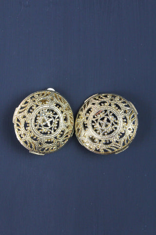 Vintage Filagree Gold Plated Clip On Earrings