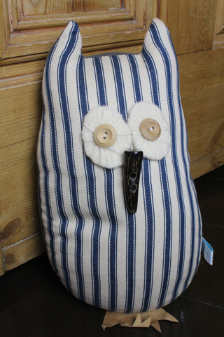 Cute Owl Lavender Door Stop/Book End - Blue Stripe